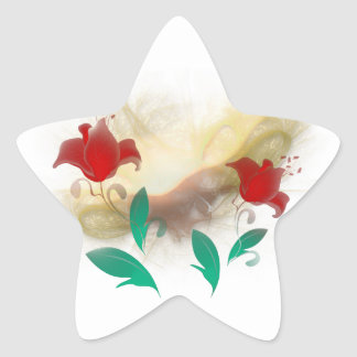 Floral Frac Star Sticker