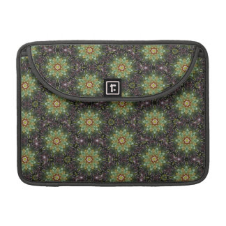 Floral Fractal Abstract Pattern in Black and Green Sleeves For MacBook Pro