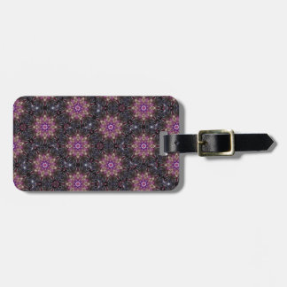 Floral Fractal Abstract Pattern in Black & Purple Bag Tag