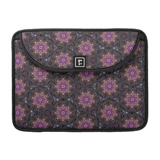 Floral Fractal Abstract Pattern in Black & Purple Sleeve For MacBooks