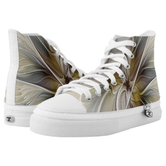 Floral Fractal, Fantasy Flower with Earth Colors High-Top Sneakers
