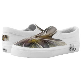 Floral Fractal, Fantasy Flower with Earth Colors Slip-On Sneakers