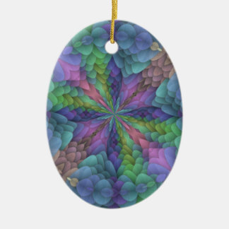 Floral Fractal Kaleidoscope Design Double-Sided Oval Ceramic Christmas Ornament