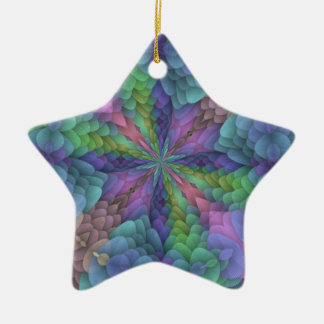 Floral Fractal Kaleidoscope Design Double-Sided Star Ceramic Christmas Ornament