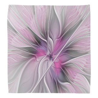 Floral Fractal Modern Abstract Flower Pink Gray Bandana
