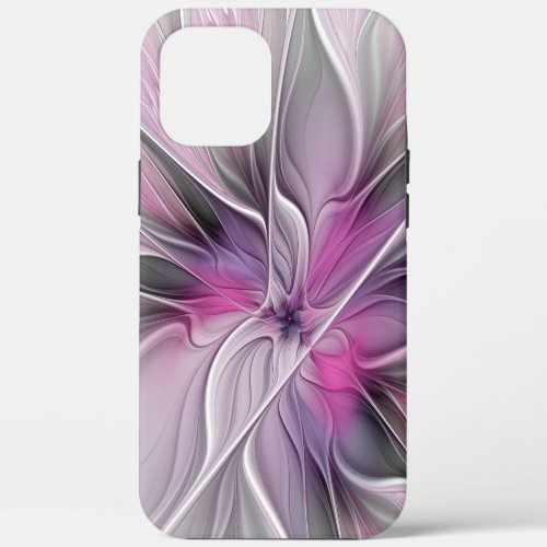 Floral Fractal Modern Abstract Flower Pink Gray Phone Case