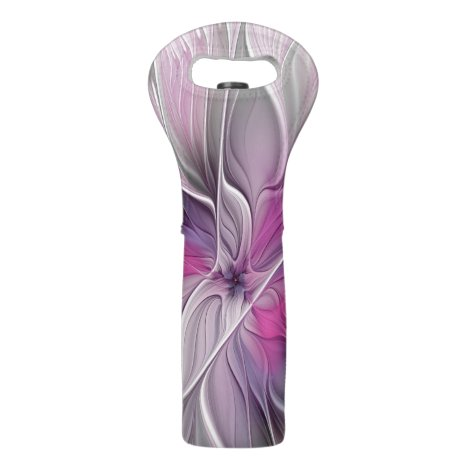Floral Fractal Modern Abstract Flower Pink Gray Wine Bag