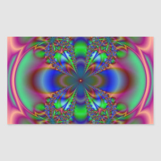 Floral Fractal Pattern Rectangular Sticker