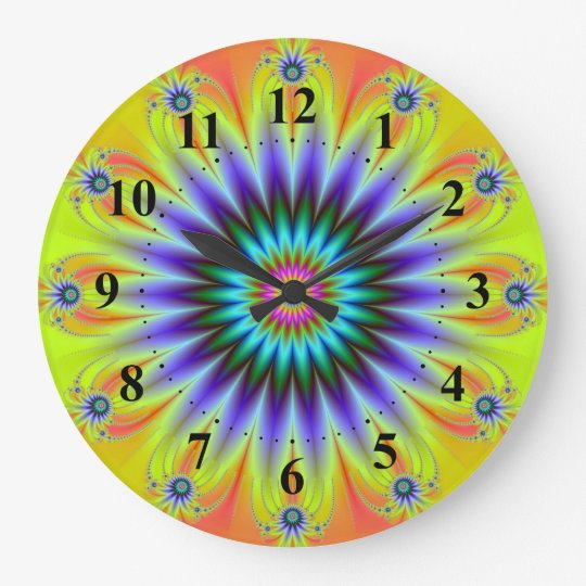 Floral Fractal Wall Clock w Numbers
