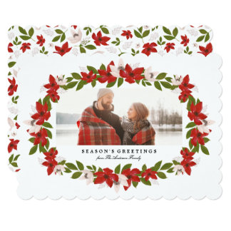 Floral Frame Holiday Photo Card