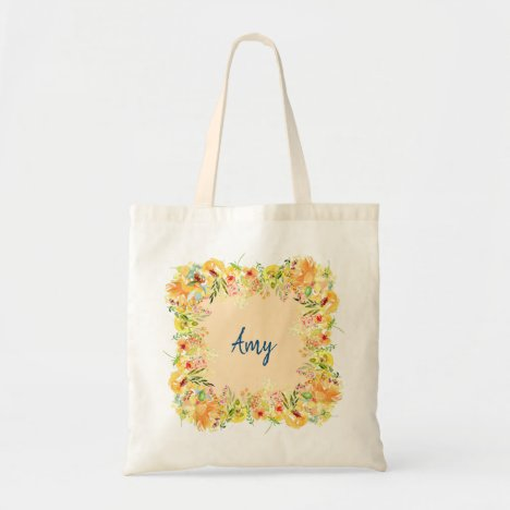 Floral Frame Monogrammed Cute First Name Trendy Tote Bag
