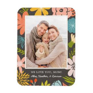 Floral Frame Photo Magnet