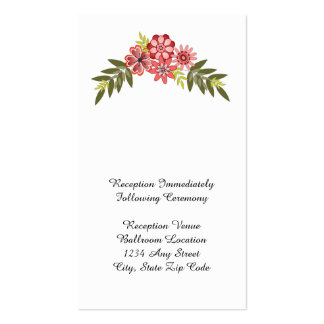Floral Frame Pink Reception Card Double-Sided Standard Business Cards (Pack Of 100)