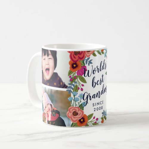 Floral Frame _ Worlds Best Grandma Photo Collage Coffee Mug