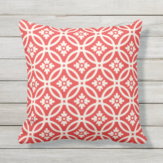 Floral Framework Patterned | Poppy Red Outdoor Pillow