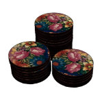 Floral francés del vintage juego de fichas de póquer