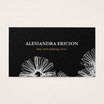 Professional Business Floral Frenzy Black and White Business Card
