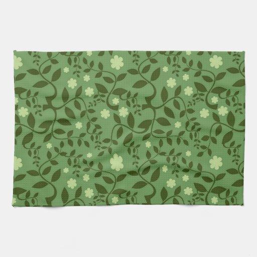 Floral fresco de lujo y extractos azules y verdes toallas de cocina
