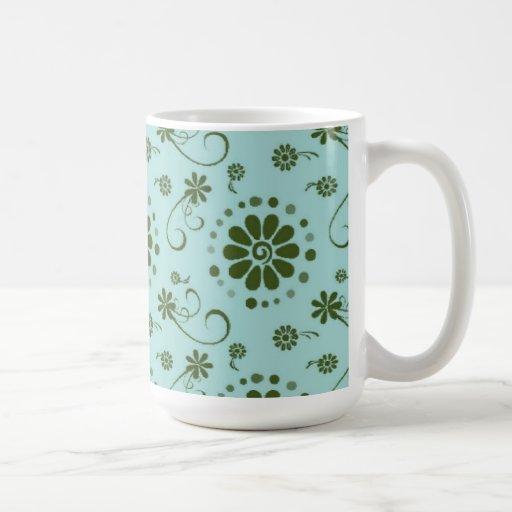 Floral fresco y de lujo - azul tazas