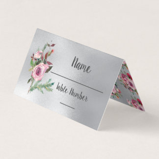 Floral Frosty Winter Roses wedding table cards