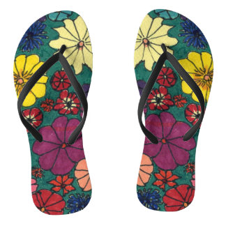 """Floral Fun"" Flip Flops"