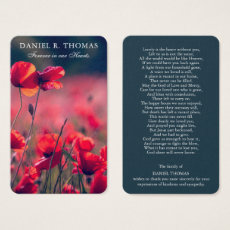 Floral Funeral Prayer Card | Beautiful Field