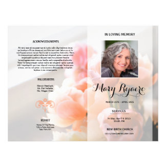 Floral Funeral Program Flyer Template