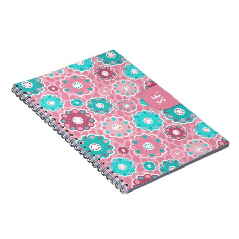 Floral funky pink and turquoise monogram notebook
