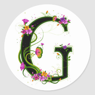 Floral G Classic Round Sticker