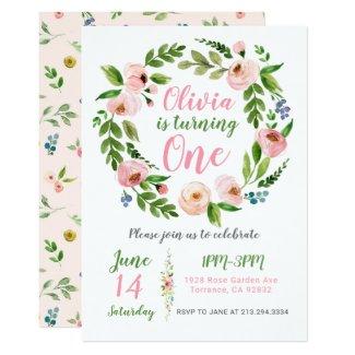 Floral Garden 1st Birthday Invitation   Peony Girl