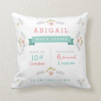 Floral Garden Baby Girl Stats Throw Pillow