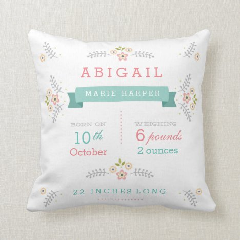 Floral Garden Baby Girl Stats Throw Pillow