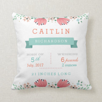 Floral Garden Baby Stats Pillow