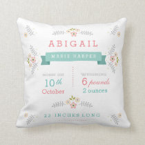 Floral Garden Baby Stats Throw Pillow