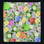 "Floral Garden Beauty Bandana<br><div class=""desc"">A garden of beautiful colorful flowers,  bloom against green leaves.</div>"