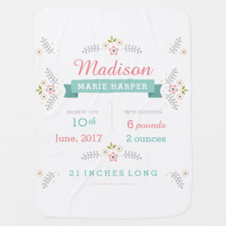 Floral Garden Birth Announcement Baby Blanket
