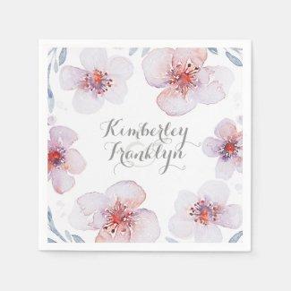 Floral Garden - Botanical Watercolor Wedding Napkin