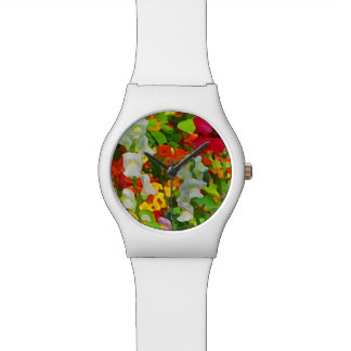 Floral Garden Colors Abstract Wrist Watch