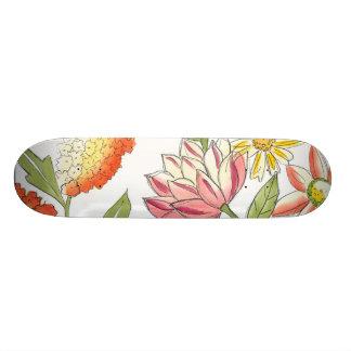 Floral Garden Design with White Background Skateboard