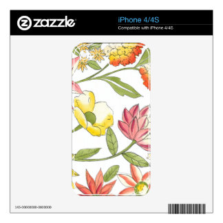 Floral Garden Design with White Background Skin For The iPhone 4