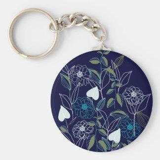 Floral garden drawing basic round button keychain