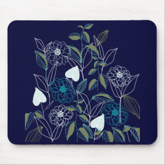 Floral garden drawing mouse pad