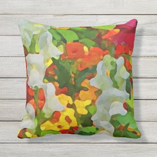 Floral Garden Flowers Outdoor Pillow