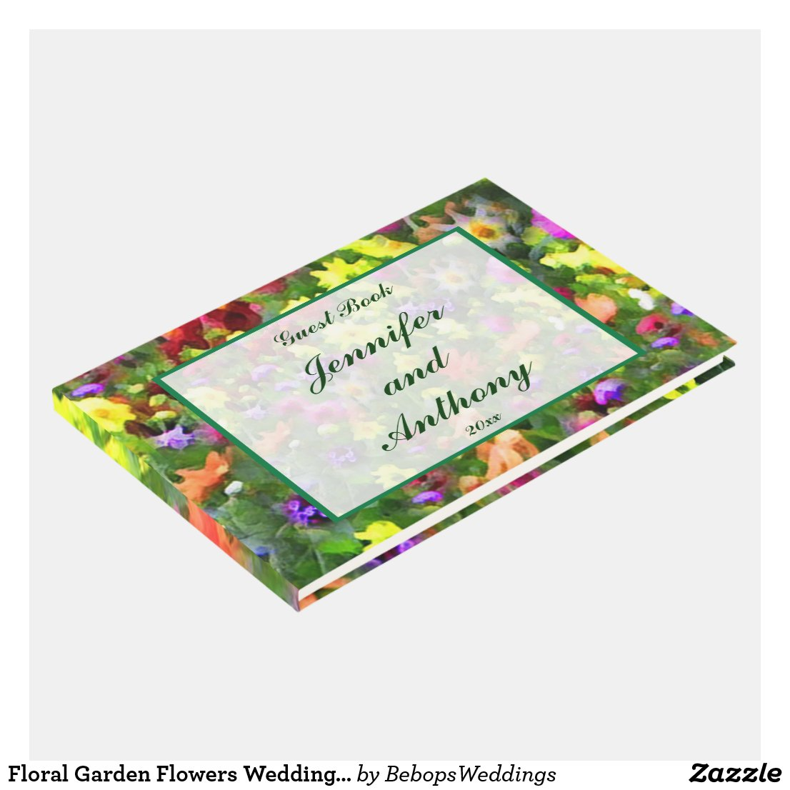 Floral Garden Flowers Wedding Guest Book
