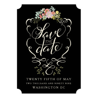 Floral Garden Hand Lettering Save the Date Cards