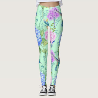 Floral Garden Hummingbird Dragonfly Butterfly Leggings