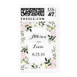 Floral garden invitation stamp -white