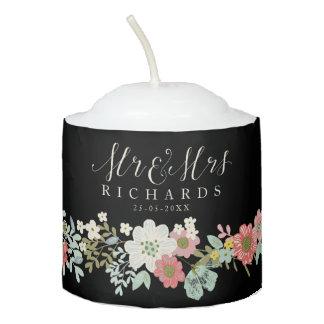 Floral Garden Mr & Mrs Wedding Candles