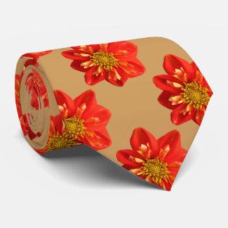 Floral Garden Orange Dahlia Flower Neck Tie