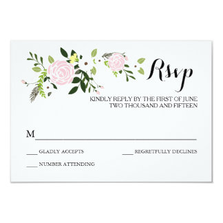 Floral Garden RSVP Card -white